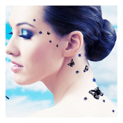 Addttoo Design Kit -'Butterfly Blues' Black Butterflies and Blue Crystals on Black Bases. Crystal Adhesive Included.
