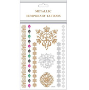 CrazyGadget® Metallic Temporary Tattoos Silver Gold Black Colour Flash Body Jewellery Necklace Bracelets Sticker Sheet