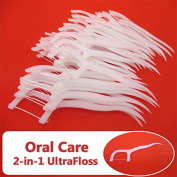 Brand New 2-in-1 Dental Floss & Tooth Picks Stick for Oral Care Tongue Food Debris Cleaner Plaque Stain Remover Disposable Easy to Use Flexible Anti Break Prevents Gum Diseases & Tooth Loss