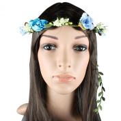 Flower Head Garland Crown Floral Hair Garland Festival Wedding Holiday Prom Hair Turquoise & Light Blue Cluster Rose