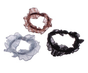 Chiffon hair jewellery elastic, mixed colours, 25mm, 3 PCs/bag, sold by bag