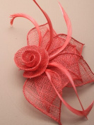 Allsorts® Coral Red Beak Clip Fascinator Weddings Ladies Day Race Royal Ascot