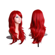 Discoball High Quality Women's Dark Red Fashion Natural Full Curl Wig Cosplay Party