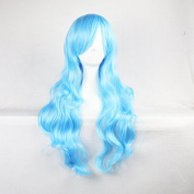 Womens/Ladies 70cm Blue Lake Colour Long CURLY Cosplay/Costume/Anime/Party/Bangs Full Sexy Wig