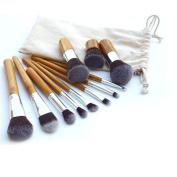 e2buyshop® 11pcs Soft Cosmetic Blush Makeup Brush Eyebrow Foundation Power Brushes Set Kit Bamboo Handle