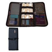 BUBM Portable Universal Wrap Electronics Accessories Travel Organiser / Hard Drive Bag / Cable Stable with Cable Tie CJB