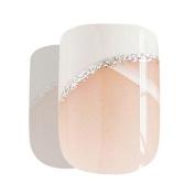 Bling Art False Nails French Manicure White Glitter 24 Full Cover Medium Tips UK