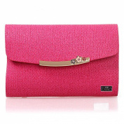 BMC Super Cute Mini Hot Pink Faux Leather Tweed Print Envelope Style Clutch XL Nail Stamping Plate Carrier