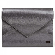 BMC Super Modern Metallic Steel Grey Faux Leather XL Nail Stamping Plate Carrier Envelope Style Statement Clutch