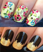 WATER DECALS NAIL TRANSFERS STICKERS! #213 PLUS GOLD LEAF SHEET FOR CUSTOM DESIGNED NAIL! ANIMAL PRINT FLOWERS BOWS LACE FRENCH TIPS WRAP & 24KT GOLD LEAF! CAN BE USED WITH NATURAL GEL ACRYLIC STICK ON NAILS! USE WITH GLITTER DUST CAVIAR BEADS ALLOYS D ..