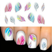 7 sheets. Women Beauty Feather Nail Art, Water Transfer Nail Art, Stickers Tips, Feather Decals+1 CARROT Brand Bracelet