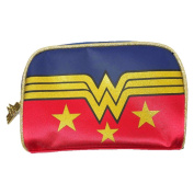 Official Wonder Woman Red Satin and Gold Glitter Logo Make-Up Bag