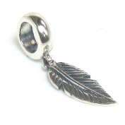 Queenberry Antique Sterling Silver Angel Feather Dangle Bead For Pandora Troll Chamilia Biagi European Charm Bracelets
