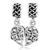 Pugster Sister Heart Filigree Love Big Sis Lil Sis Celtic Knot Charm Sale Cheap Beads fit Pandora Bracelet