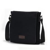 Eshow Men's Retro Casual Canvas Flapover Cross Body Shoulder Messenger Bag Black