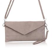 Ladies Italian Designer Soft Faux Suede Leather Envelope Clutch Bag Handbag