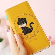 Enjoydeal Women Girls Bifold Leather Purse Dots Cartoon Cat Pattern Clutch Long Zipper Wallet Handbag