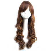 WELLKAGE New Two Tone Long Wavy Highlight Hair Wig Multi-colour Lolita Wigs