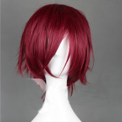 C.J. SHOP Cosplay Free! Red Red Wine Dark Rin Matsuoka straight short wig Anime 30cm / 11.81in Free Wig