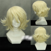 C.J. SHOP short curly TIGER & BUNNY yellow light blonde wig Anime Cosplay