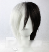 C.J. SHOP Dangan Ronpa monokuma 30cm black and white short hair wig Cosplay