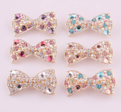 6pcs/lot New Crystal Rhinestone Bowknot Barrettes Hair Accessories Clip Clamp Hairpin Headwear for Women