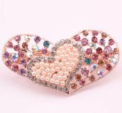 Elegant Diamond Hair Barrette Clips for Women Heart Design Hair Clip