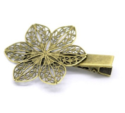 Hair Jewellery 10pcs Bronze Tone Filigree Flower Prong Hair Clips 5.7x3.9cm