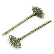 Fashion Delicate Elegant Hair Band 30pcs Hair/bobby Pins Hollow Fan Shaped Bronze Tone 6.5x2.4cm