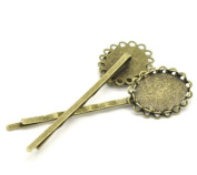Children Girls 20 Bronze Tone Cabochon Setting Bobby Pins Hair Clips 6.4x1.8cm
