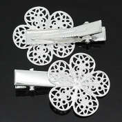 10 Pieces Pretty Nice Silver Plated Filigree Flower Prong Hair Clips Barrettes