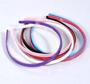 12 Pieces Mixed Plastic Hairbands Simple Brief Style Hair Accessory Teeth Candy Colour Headbands 8mm Wide