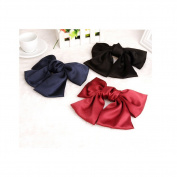 Cocokk 3PCS Elegant Ribbon Bow Hair Clips for Girls Colour Randomly