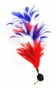 4th of July, Independance Day Hair Clip - Bendable Feathered Hair Clip Feather Red White Blue Coloured - Multi Functional