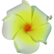 Foam Flower Small Hair Clip Plumeria White & Yellow