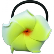 Foam Ponytail Hair Flower Plumeria White & Yellow