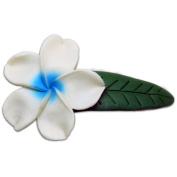 Fimo Flower Green Leaf Hair Clip Plumeria White & Blue