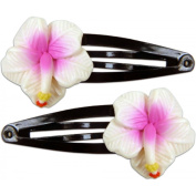 Fimo Hair Flower Snap Clip Set of 2 Hibiscus White & Pink