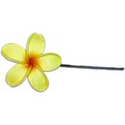 Fimo Flower Flexible Hair Pick Plumeria Yellow