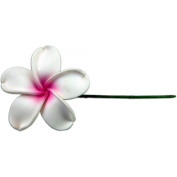 Fimo Flower Flexible Hair Pick Plumeria White & Pink