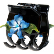 Black Hair Claw With Fimo Flower Plumeria Frost Blue