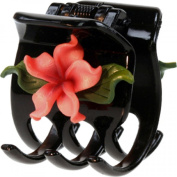 Black Hair Claw With Fimo Flower Plumeria Pink