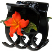 Black Hair Claw With Fimo Flower Plumeria Coral