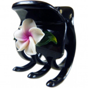 Black Hair Claw With Fimo Flower Plumeria White & Pink