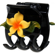 Black Hair Claw With Fimo Flower Plumeria Yellow