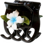 Black Hair Claw With Fimo Flower Plumeria White & Blue
