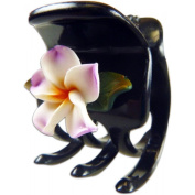 Black Hair Claw With Fimo Flower Plumeria White & Lilac