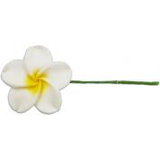 Fimo Flower Flexible Hair Pick Plumeria White & Yellow