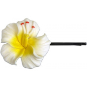 Fimo Hair Flower Large Bobby Pin Hibiscus White & Yellow