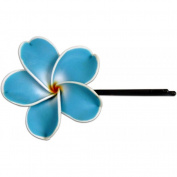 Fimo Hair Flower Large Bobby Pin Plumeria Blue & White Edge